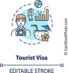 Tourist visa concept icon. Abroad vacation. Travel document ...
