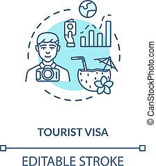 Tourist visa concept icon. Abroad vacation. Traveller ...