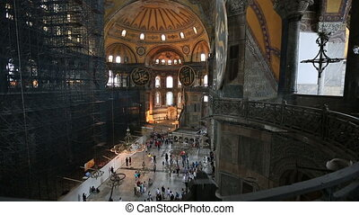 Tourist Visiting Historic Famous Monument Hagia Sophia Church Mosque (Aya Sofya) at Sultan Ahmet District Istanbul Turkey