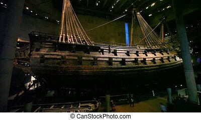 Tourist walk around near old ship at Vasa Museum in...