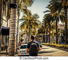 Tourist walking in Beverly Hills