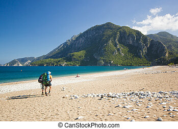 tourist walking on a sandy beach in turkey