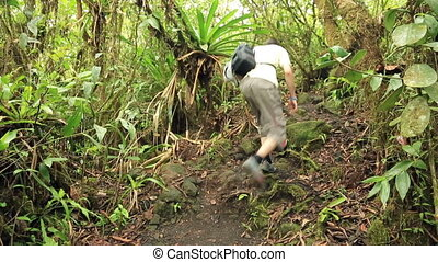 Tourist walking up in rainforest - Young sporty hiker man...
