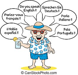 tourist who wants to know what languages you speak - vector...