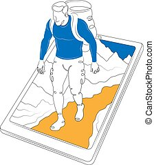 Tourist with a backpack climbing on a mountain on the smartphone screen