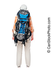 Tourist with a heavy large backpack, rear view on a white background
