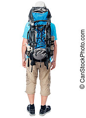 Tourist with a large backpack view from behind on a white background