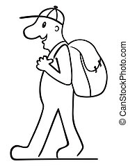 Tourist with backpack - Illustration of tourist with...