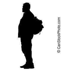 Tourist with backpack one
