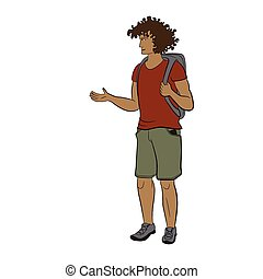 Young sun-tanned man with backpack in red t-shirt and khaki shorts