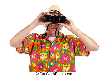 Tourist with binocular - tourist with colorful shirt and...
