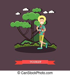 Tourist with camera vector illustration in flat style
