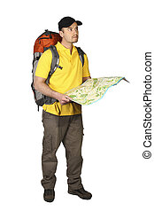 tourist with map - man with map isolated on white background