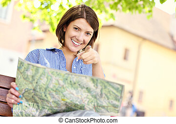 Tourist with map