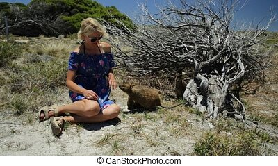 Tourist with Quokka