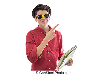 tourist with sunglasses and map isolated on white