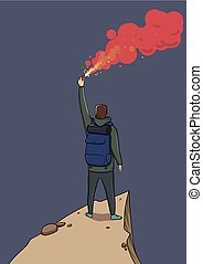 Tourist with the flare on a mountain is looking at the...