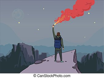 Tourist with the flare on a mountain is looking from the...