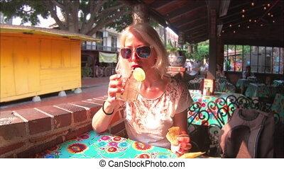 Tourist woman at El Pueblo - El Pueblo de Los Angeles State...