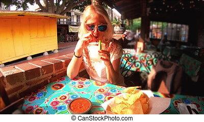Tourist woman drinking Margarita - SLOW MOTION: Happy...