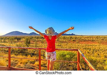 Tourist woman in Australian Outback