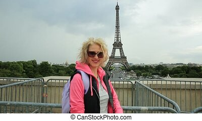 Tourist woman in Paris