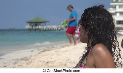 Tourist Woman On Beach