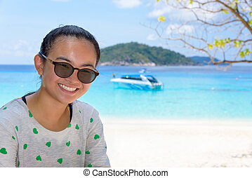 Tourist woman on the beach at Similan islands, Thailand