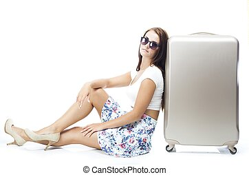 Tourist woman with wheel bag suitcase isolated