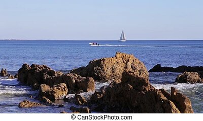 Tourist yacht Floats on the sea in Portugal Albufeira.