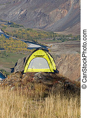 Tourist yellow tent