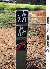 tourist, zeichen, park, australia