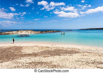 touriste, île, visiter, formentera, méditerranéen, pujols, mer, els, plage, espagne