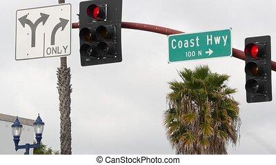 touriste, 101, lettrage, long, signe, historique, ocean., voyage, côte pacifique, californie, parcours, scénique, été, route, tout-américain, intersection, hwy, autoroute, destination, usa., symbole, signpost.