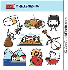 touriste, célèbre, icônes, voyage, montenegro, symboles, culture, vecteur, tourisme, repères