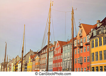 touriste, célèbre, nyhavn, danemark, -, attraction, copenhague
