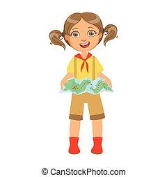 touriste, coloré, caractère, carte, scout, tenue, girl, heureux