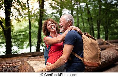 touriste, couple, promenade, forêt, personne agee, sacs dos, nature.