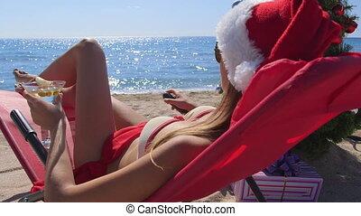 touriste, dolly:, recours, vacances, plage, noël