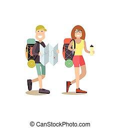 touriste, gens, vecteur, illustration, dans, plat, style