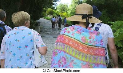 touriste, groupe, jardin, botanique