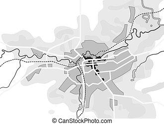 touriste, guide, urbain, city., parcours, navigation, géographique, location., diagramme, carte