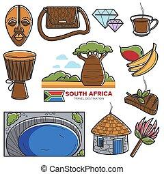touriste, icônes, attractions, voyage, afrique, célèbre, vecteur, africaine, tourisme, repères, sud