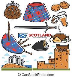 touriste, icônes, attractions, voyage, ecosse, célèbre, vecteur, royaume-uni, tourisme, repères