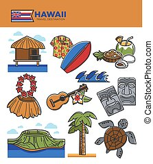 touriste, icônes, culture, attractions, voyage, hawaï, célèbre, vecteur, tourisme, repères