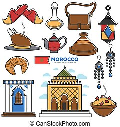 touriste, icônes, voyage, symboles, célèbre, vecteur, morrocan, tourisme, repères, maroc