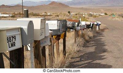 touriste, parcours, rang, postbox, boîtes lettres, route, ...