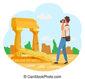 touriste, photographe, appareil photo, photo, chapeau, homme
