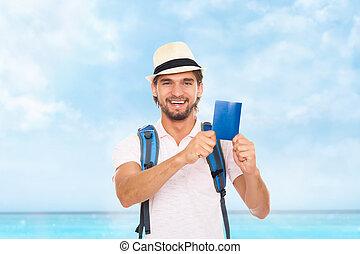 touriste, sac à dos, tenue, homme, chapeau, passeport