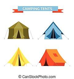 touriste, tentes, vecteur, icônes